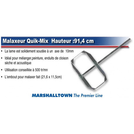 Malaxeur MARSHALLTOWN Quik-Mix enduit, platre, crepis, colle, MAP, Staff Axe 10 mm Hauteur :91,4 cm
